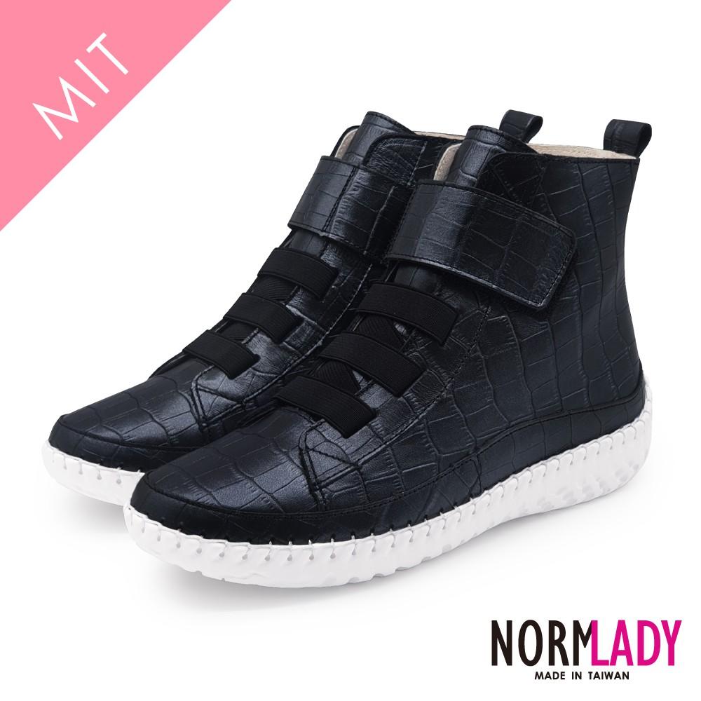 諾蕾蒂Normlady 女鞋 短靴 真皮靴 氣墊鞋 經典時尚俐落黏貼高階版磁力厚底內增高氣墊球囊短靴(百搭黑)
