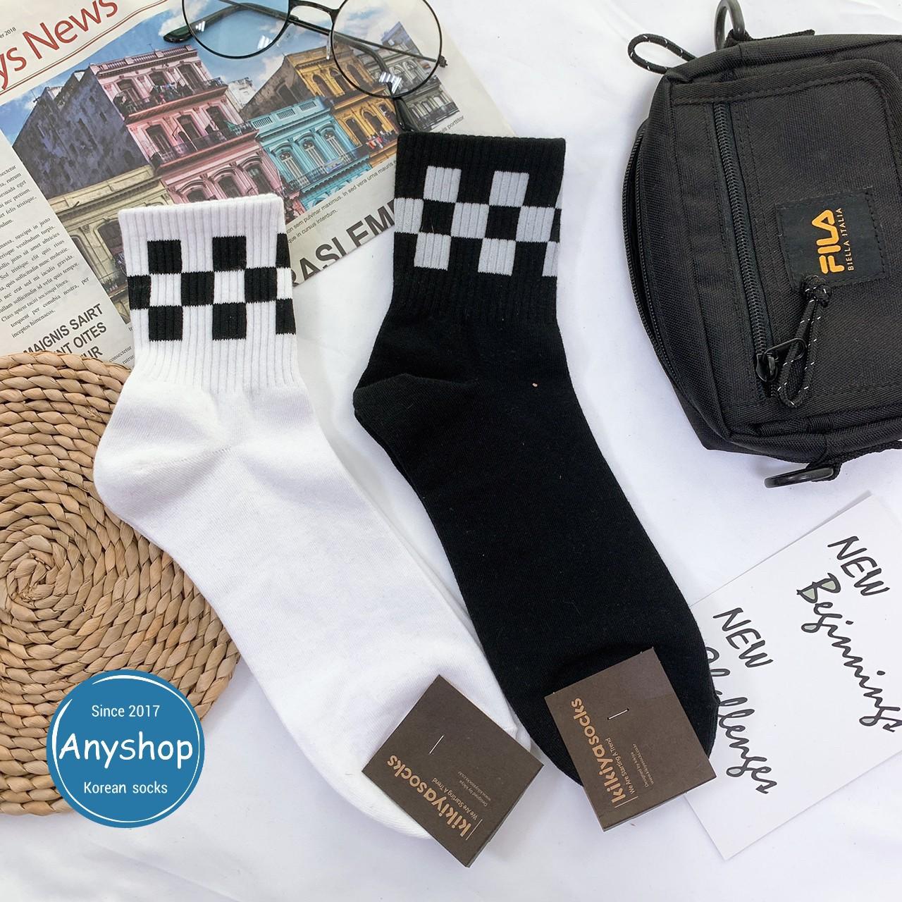 韓國襪-[Anyshop]黑白格子男士襪