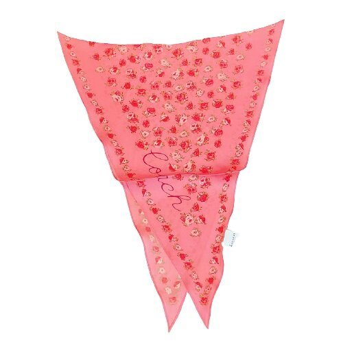COACH 亮桃紅色春天花朵菱形絲巾- 89796-QRI