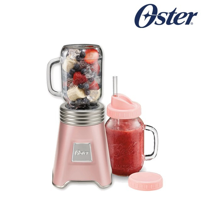 美國OSTER-Ball Mason Jar隨鮮瓶果汁機(藍/紅/灰/玫瑰金)