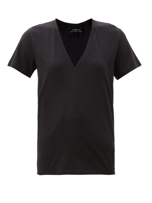 Another Tomorrow - V-neck Organic-cotton T-shirt - Womens - Black