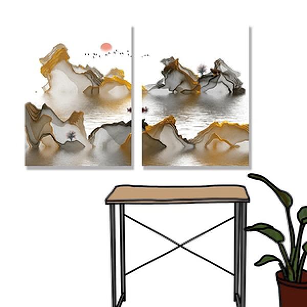 【24mama 掛畫】二聯式 油畫布 無框畫 30x40cm-彩色意境無時鐘