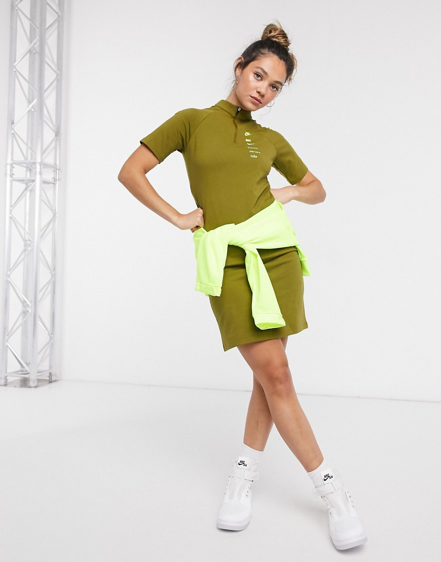 Nike swoosh high neck dress in khaki green