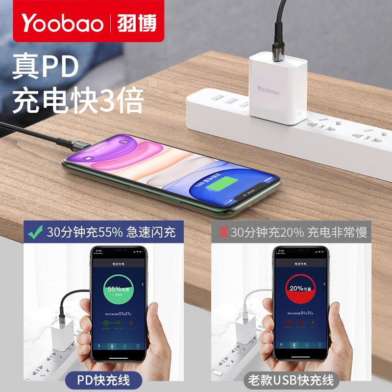 蘋果數據線快充閃充iPhone11通用18W PD快充線typec轉lighting充電線macbookpro充電器線iPhonexr編織線