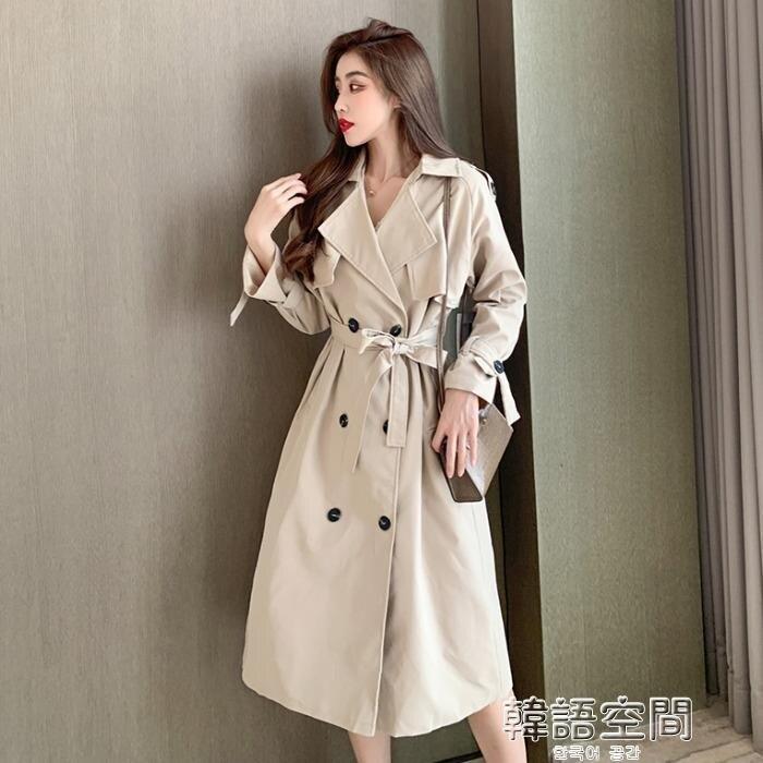風衣 韓版時尚寬鬆顯瘦氣質名媛風衣2020年秋季新款小個子中長款外套女 韓語空間