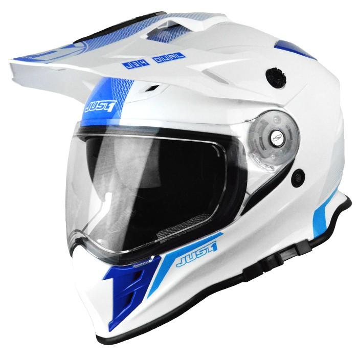【Just1】J34 入門 多功能越野帽 鳥帽 輕量透氣 內襯全可拆 內墨片 KTM BMW 霓虹藍