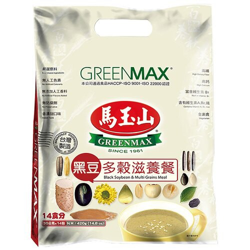 馬玉山 黑豆多穀滋養餐 30g (12入)/袋【康鄰超市】