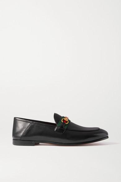 Gucci - Brixton 马衔扣细节织带边饰皮革折叠式后跟乐福鞋 - 黑色 - IT35.5