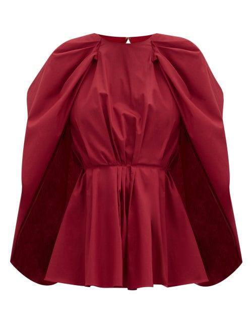 Roksanda - Atticus Cape-sleeve Peplum Cotton-poplin Blouse - Womens - Red