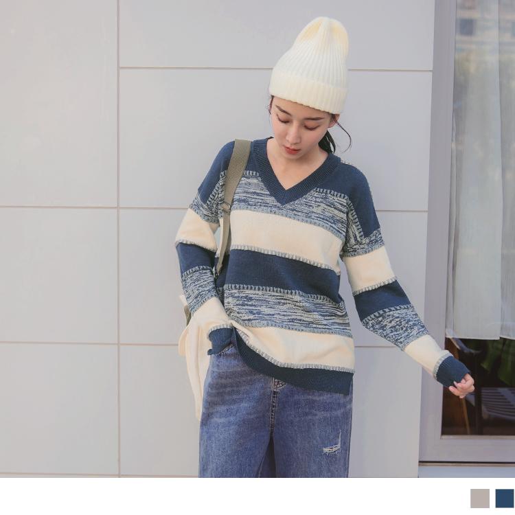 保暖包芯紗V領條紋配色針織長袖上衣