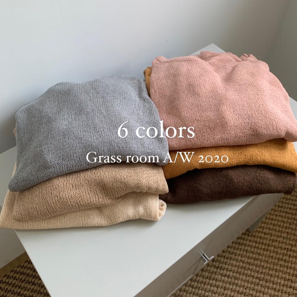 微透感抽繩圓領針織衫 微透感針織衫 針織上衣 素色針織衫 抽繩上衣 素面上衣 GRASS 現貨 [A8053]