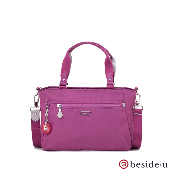 beside u  BERT 防盜刷線條手提包側背包兩用包- 桃紅色  原廠公司貨
