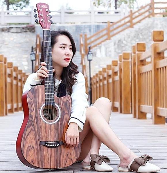 吉他 單板41寸初學者吉他學生38寸新手練習男女生入門琴民謠木吉他樂器 小宅君