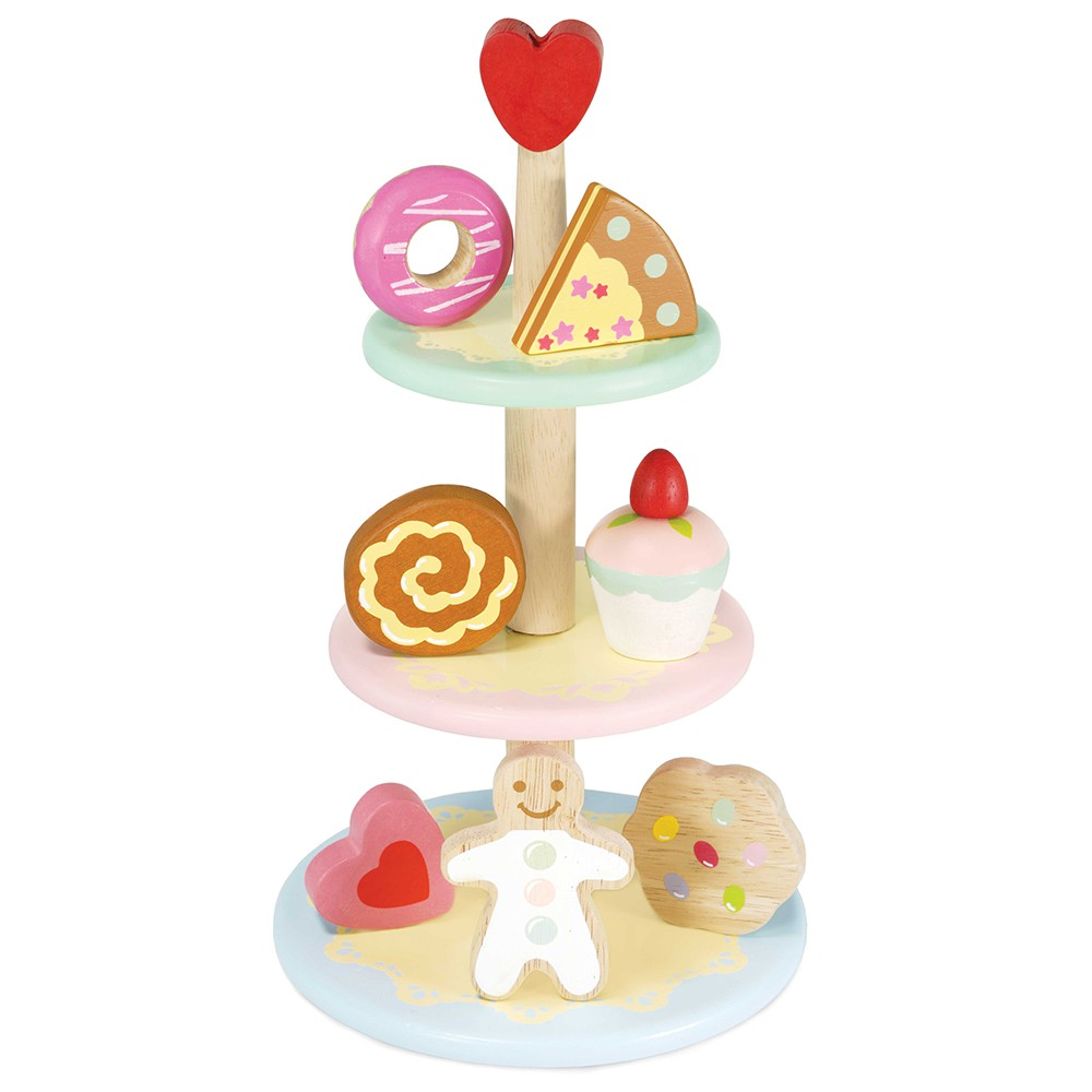 英國 Le Toy Van 角色扮演系列-夢幻三層下午茶糕點玩具組【hughugbaby抱抱寶貝】