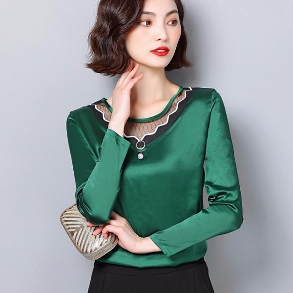 限時特購 網紗打底衫女長袖春裝新款韓版女裝洋氣小衫T恤百搭蕾絲上衣