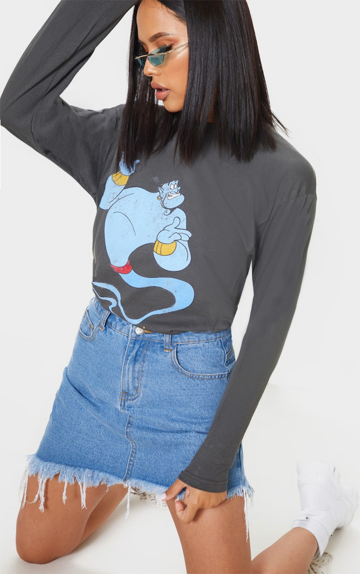 Charcoal Grey Disney Genie Print Oversized Long Sleeve T Shirt