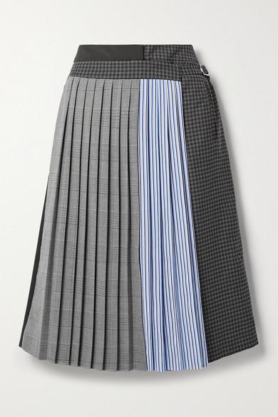 Tibi - 分层式褶裥拼布绉纱裙裤 - 海军蓝 - US2