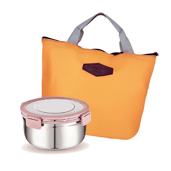 免運 瑞士LUCUKU 304圓形保鮮餐盒800ml+保溫保冷袋 FA-033+AK-08028 (3組)