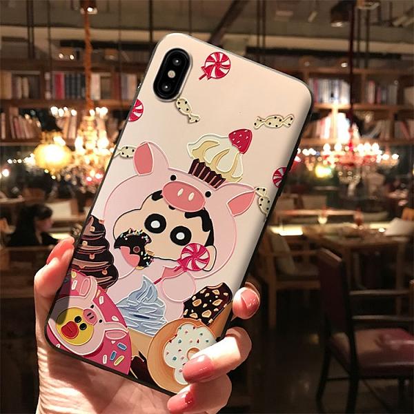 日韓IPhone 12手機殼 卡通iPhone12 Pro Max保護殼 蘋果12 Pro手機套防摔 浮雕蠟筆小新蘋果12 mini保護套