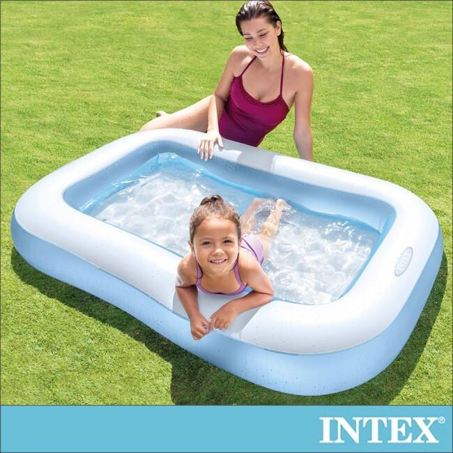intex長方形充氣泳池/攜帶浴池166x100x深25cm(90l)-適2歲以上(57403)