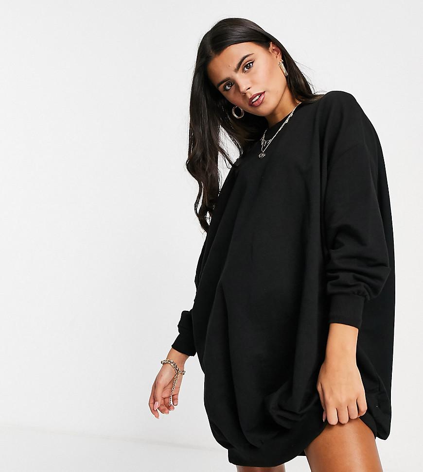ASOS DESIGN Petite oversized sweat dress in Black