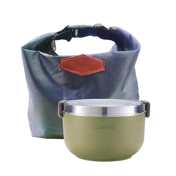 免運 丹露 304內膽韓式便當盒1L+扣環保溫保冷袋 S304-1L+AK-08073 (3組)