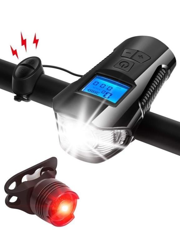 USB充電自行車燈智慧帶喇叭碼表顯示器騎行裝備配件