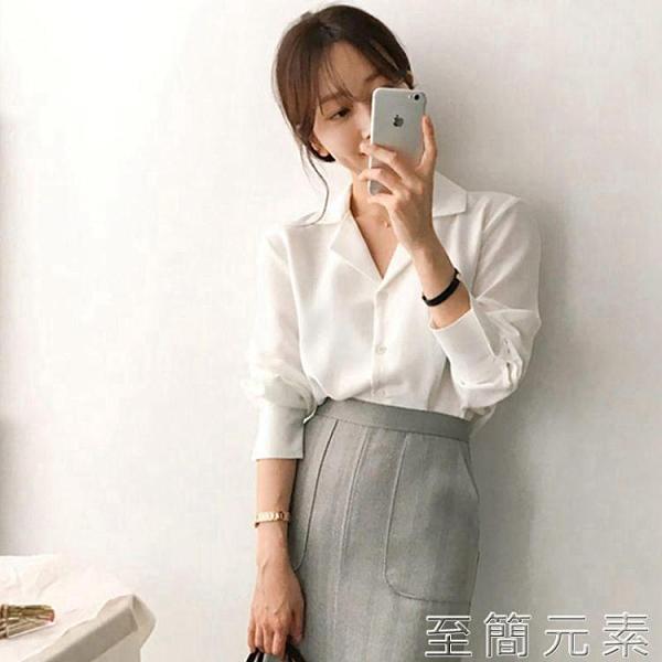 白色職業襯衫女設計感小眾秋款新款長袖寬鬆雪紡女士上衣氣質