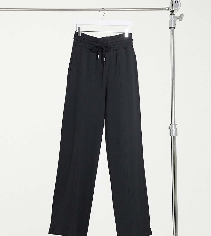 ASOS DESIGN Tall straight leg jogger with deep waistband and pintuck in organic cotton in black