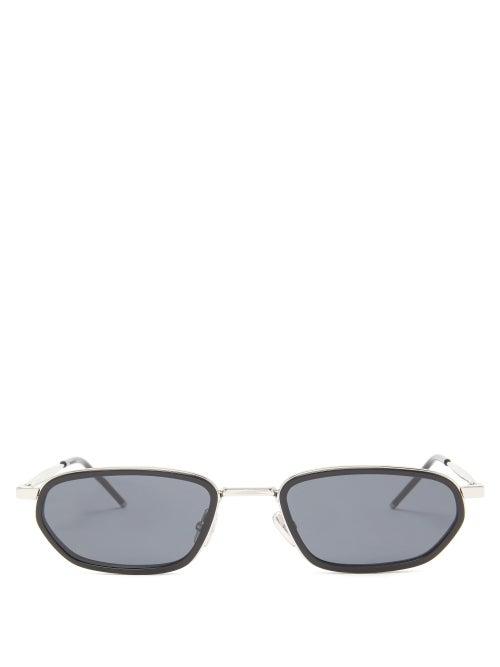 Dior - Diorshock Rectangular Metal Sunglasses - Mens - Black