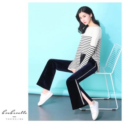 2F韓衣-韓系條紋修身喇叭褲-黑色(M)