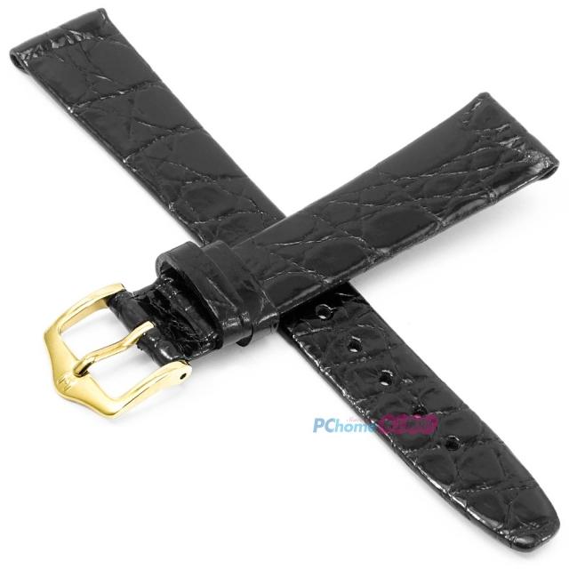 【海奕施 HIRSCH】鱷魚皮錶帶 Prestige L 黑色 附工具 02208050 鱗片紋理光滑