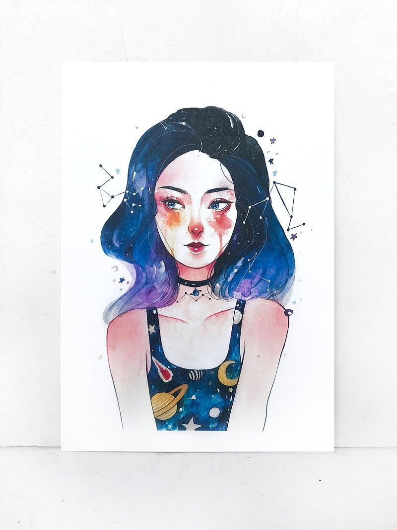 宇宙女孩  水彩插畫印製畫