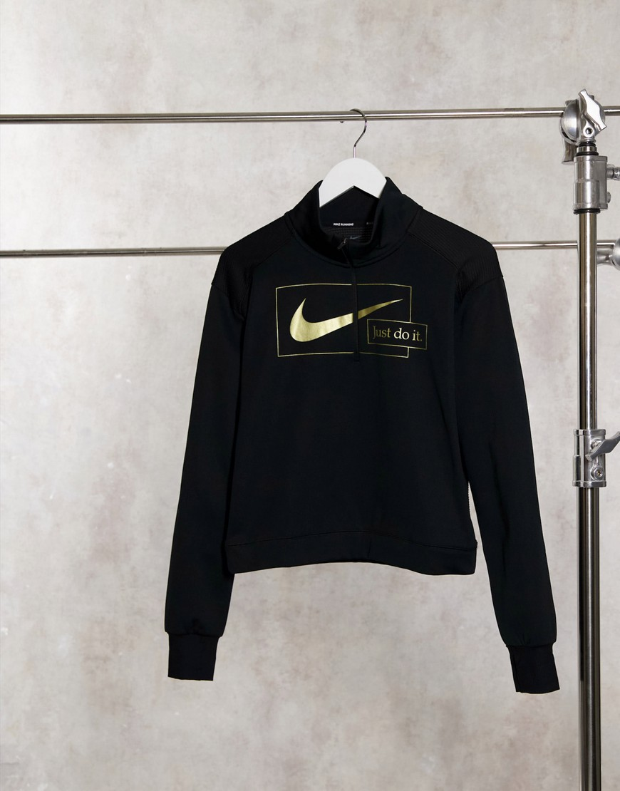 Nike Running Icon Clash mid layer top in black