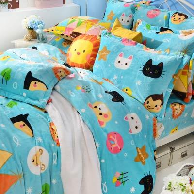 Fancy Belle X Malis 我們幸福的家 雙人四件式防蹣抗菌雪芙絨被套床包組