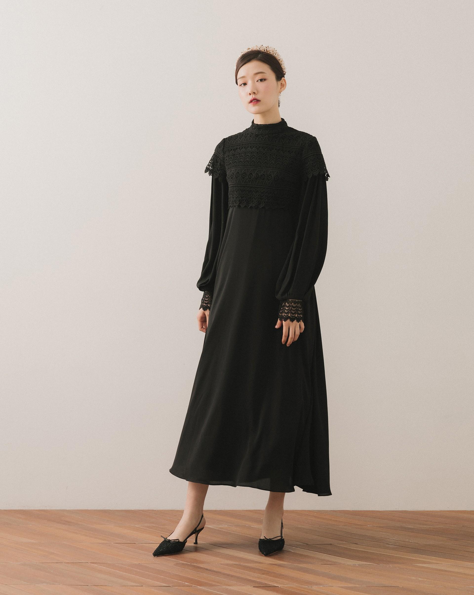 復古蕾絲立領洋裝-Meierq