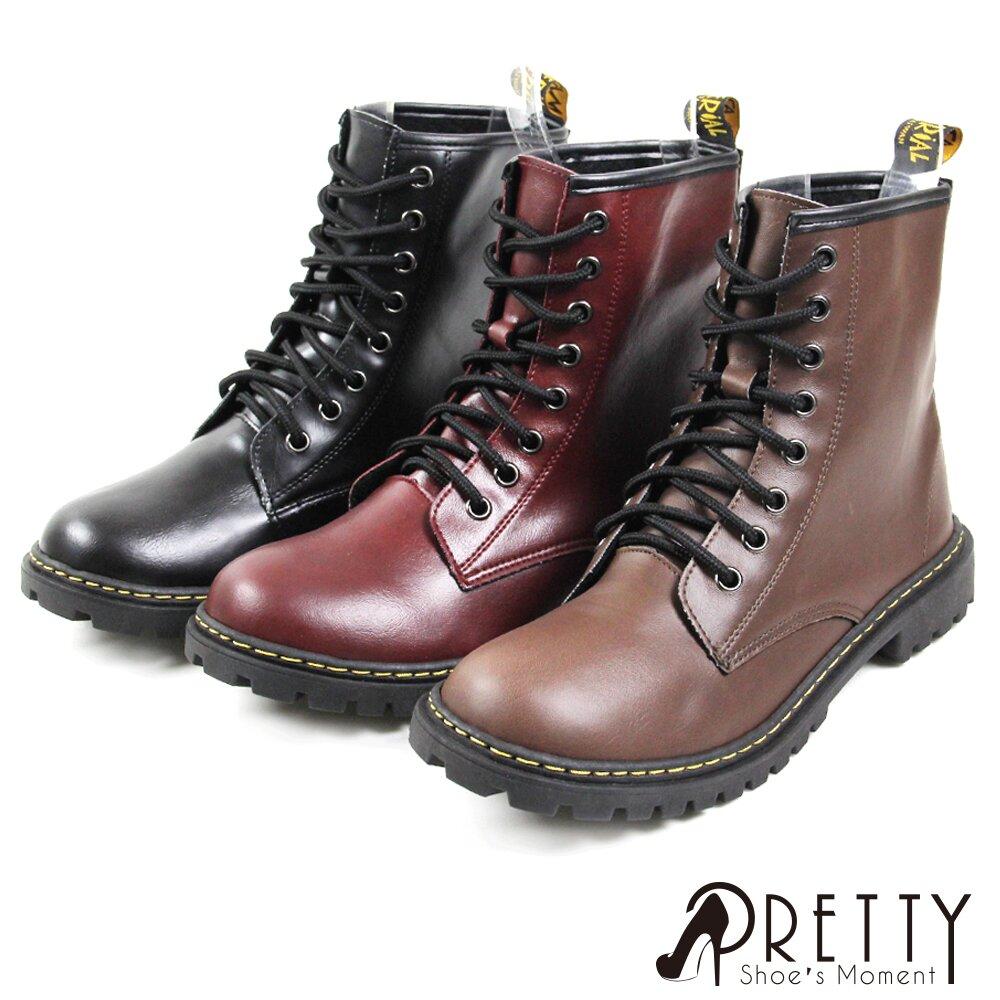 【Pretty】歐美風個性綁帶短筒低跟馬丁靴B-27705
