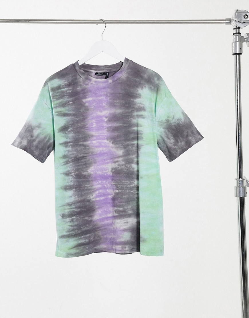 ASOS DESIGN oversized t-shirt in vertical bright tie dye stripe-Multi