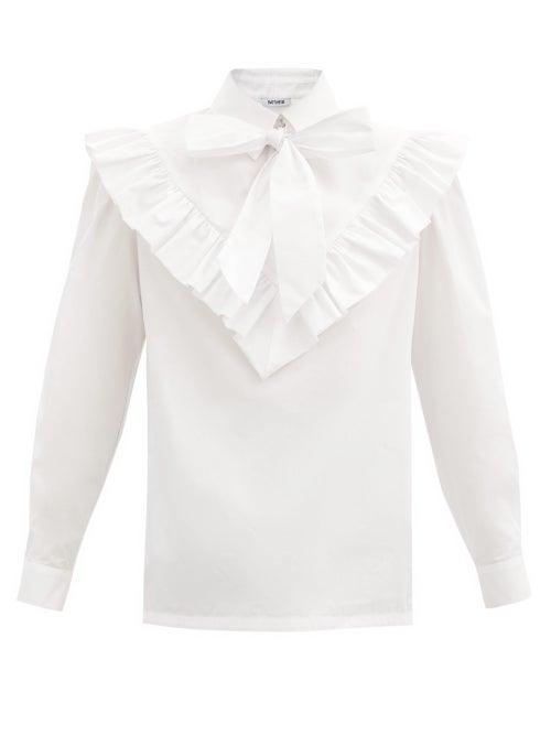 Batsheva - Carol Tie-neck Cotton-poplin Blouse - Womens - White