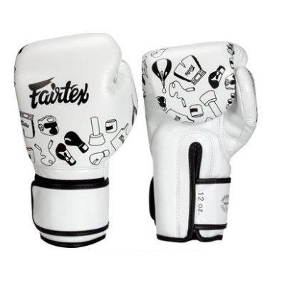 [古川小夫] Fairtex 8oz 新款圖案 健身房拳擊手套~重擊打沙袋拳套~個性化改裝 - 白色塗層 BGV14