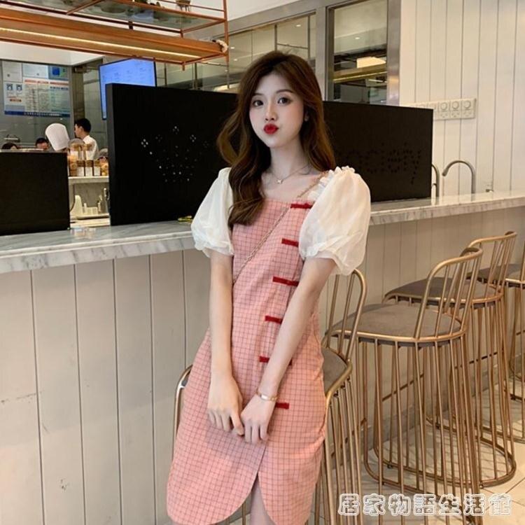 夏季新款桔梗法式復古收腰顯瘦輕熟風旗袍改良版洋裝子女