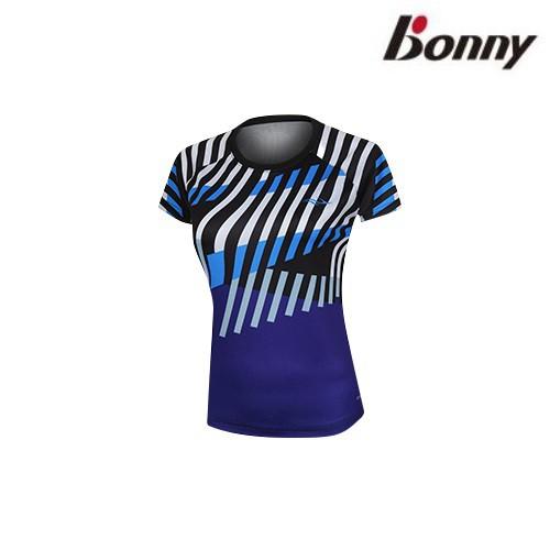 【Bonny】波力幾何數碼圓領運動服-黑紫色女款