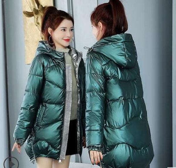 棉服 新款女爆款韓版寬鬆免洗亮面羽絨棉衣中長款冬裝外套襖