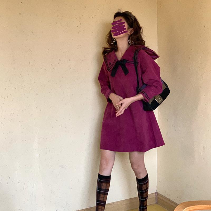 長袖洋裝 娃娃裝 韓版洋裝 胖mm大尺碼燈芯絨秋季新款海軍領jk短裙韓版寬鬆遮肉裙子