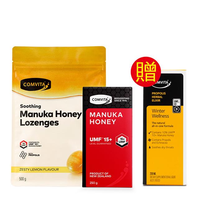 【Comvita 康維他】 UMF15+麥蘆卡蜂蜜+蜂膠檸檬潤喉糖組