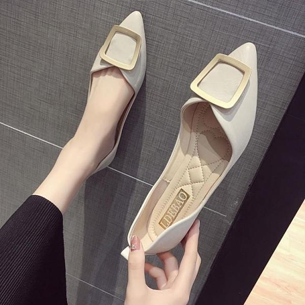 尖頭女鞋夏季單鞋女年新款百搭淑女淺口平底配裙子的豆豆鞋子 雙12全館免運