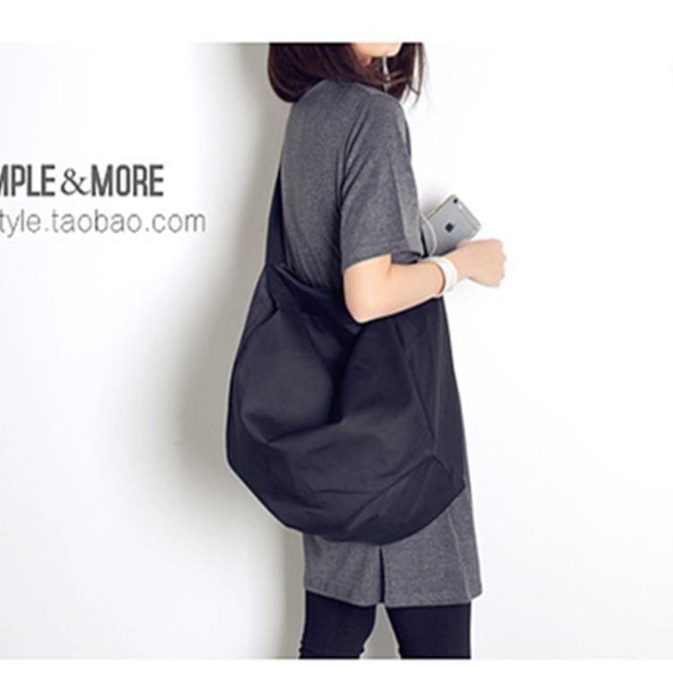 韓風ulzzang超酷立體單肩斜挎包黑色男女簡約運動旅行大包健身包
