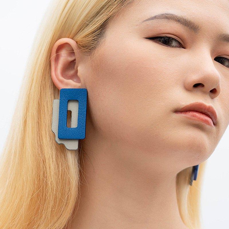 LONGFACE 消失的樓宇系列錯位皮革耳釘不規則幾何小眾耳飾