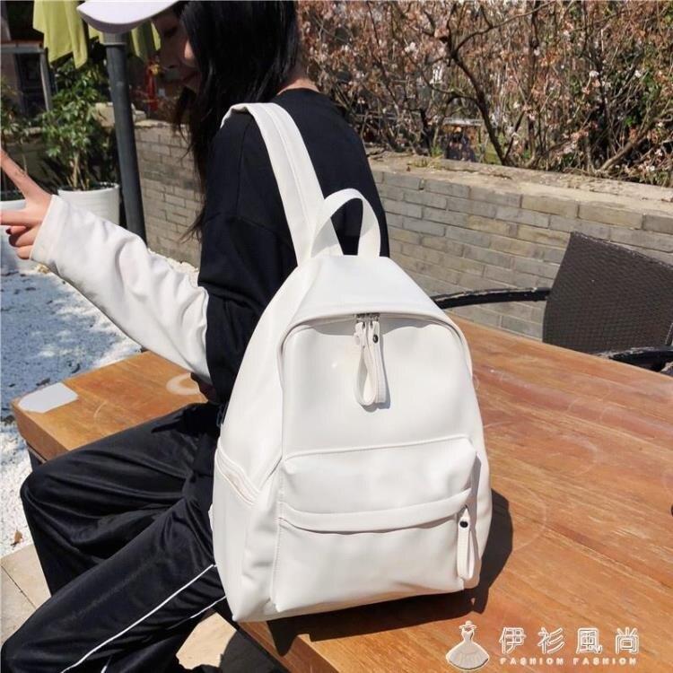 日版古著感少女書包校園韓版高中學生雙肩包森系百搭PU皮純色背包