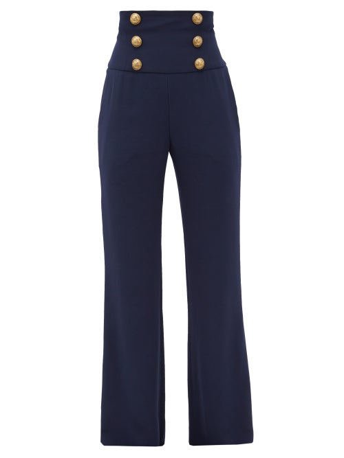 Balmain - Buttoned Crepe Wide-leg Trousers - Womens - Navy